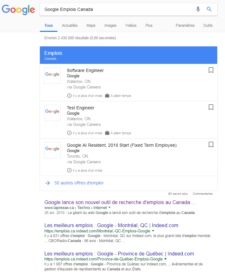Google Emploi Canada - VotreArgent.ca